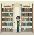 Man in library vector image vector image