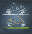 moto scooter sketch on chalkboard vector image