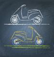 moto scooter sketch on chalkboard vector image