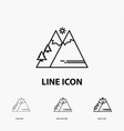 mountains nature outdoor sun hiking icon in thin vector image