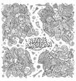 native american cartoon doodle designs set vector image