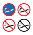 no smoking signs smoking is prohibited icon set vector image vector image