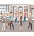 people walking on street cartoon characters vector image vector image
