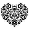 Polish folk art heart pattern in black - wycinanka vector image vector image