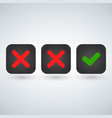 red x symbol icon and green checkmark isolated vector image vector image