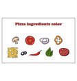 set different ingredients for pizza color on vector image vector image