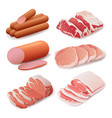 set of meat products in flat style cooking vector image