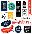 Set of must have sings vector image