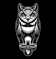 stylish owl that sits monochrome vector image vector image
