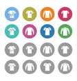 sweater sweatshirt t-shirt icon set vector image