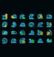 tsunami icons set neon vector image vector image