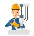 Worker working with industrial equipment vector image vector image