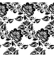 Lace black seamless pattern with flowers on white vector image