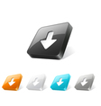 3d web button with download icon vector image