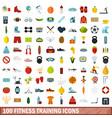 100 fitness training icons set flat style vector image