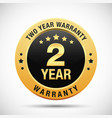 2 year warranty golden badge isolated on white