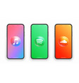apple music spotify soundcloud logo on iphone vector image