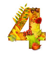 autumn stylized alphabet with foliage digit4 vector image vector image