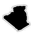 black silhouette of the country algeria with the vector image