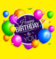 bunch colorful birthday balloons with streamers vector image