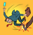 businessman falls business competition and unfair vector image vector image