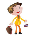 businessman with briefcase and cellphone vector image vector image