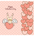 card Happy Valentines Day with a cute cupid vector image