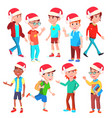 christmas children set santa hat boys and vector image
