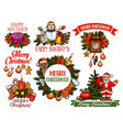 christmas holidays sketch for greeting card design vector image vector image