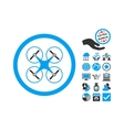 Copter Flat Icon With Bonus vector image vector image