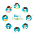 daily routines of boy on circle chart vector image