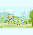 elderly people characters cycling in city park vector image