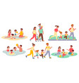 family activities happy people and kids outdoor vector image