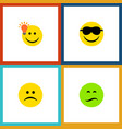 flat icon face set of frown have an good opinion vector image vector image