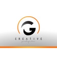 g letter logo design with black orange color cool vector image vector image