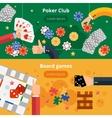 Gambling games flat banners set vector image vector image