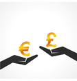 Hand hold euro and pound symbol to compare vector image