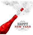 happy new year red champagne bottle low poly vector image vector image