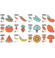 healthy food line icon set vector image vector image
