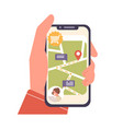 human cartoon hand holding smartphone with map vector image