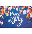 inscription happy independence day on usa flag vector image