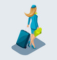 isometry of the stewardess girl comes with a vector image vector image