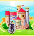king in front of his castle vector image vector image