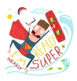 Kitesurfing caricature superman character happy vector image