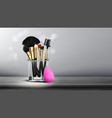 makeup brush banner cosmetic background vector image