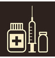 Medicine ampoule and syringe icon vector image vector image