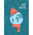 Merry Christmas Planet Earth winter Knitted scarf vector image
