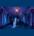 old castle hall with ghosts dark scary palace room vector image vector image