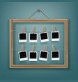 pegs with photo frames and picture frame on rope vector image