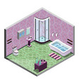 pink pastel color bathroom isometric interior view vector image vector image